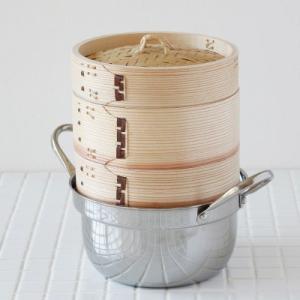 中華せいろ 蒸篭(セイロ)ステンレス鍋15cmセット sizen