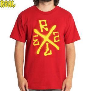 アウトレット REAL リアル スケートボード Tシャツ SPRAY TEE レッド NO16