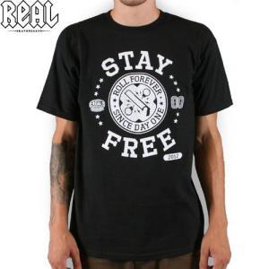REAL リアル スケートボード Tシャツ STAY FREE TEE ブラック NO36