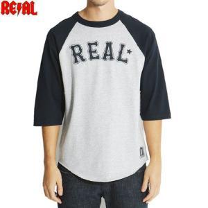 アウトレット REAL リアル スケートボード Tシャツ ROLL ON DECK 3/4 ラグラン...