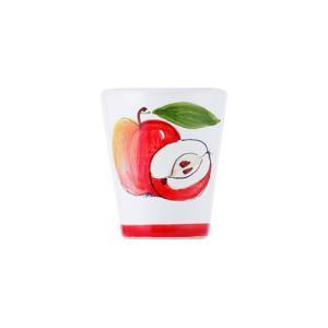 大きなリンゴが描かれた色鮮やかなグラス。  ひとりの芸術家が描き焼き上げる逸品。 冷凍庫でリンゴチェ...