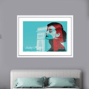 アートポスター おしゃれ  額付き オードリーヘップバーン パリ