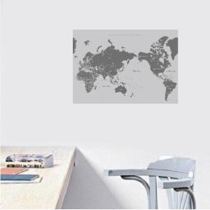世界地図 おしゃれ ポスター  国名 首都記載 日本語と英語表記 人気のA2サイズ グレイ