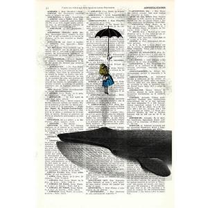 アートポスター 不思議の国のアリスシリーズ 傘とクジラ