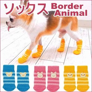 ソックス ボーダーアニマル (チワワ 小型犬 犬 くつした 靴下 滑り止め すべりどめ 肉球 保護 介護 フローリング)|skipdog010420