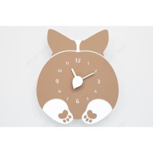 壁掛け時計 CHUBBY HIP(パンダ、ウェルシュ・コーギー、猫)ハンドメイド プレゼント 贈り物...