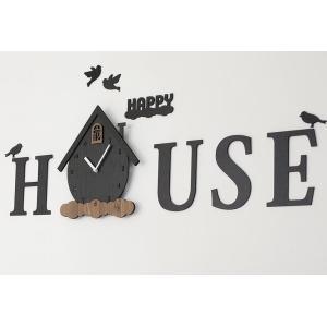 壁掛け時計 HAPPY HOUSEハンドメイド プレゼント 贈り物 クロック 新築 お祝い ギフト ...