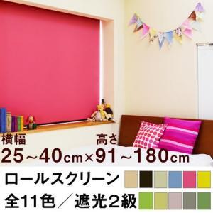 ロールスクリーン SHADE 遮光2級(遮光率99.8%以上/安眠生地)【横幅25〜40cm × 高...