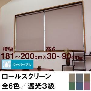 ロールスクリーン SHADE 遮光3級(ウォッシャブル/遮光率99.4%以上) 横幅181〜200cm × 高さ30〜90cm  オーダー メイド 立川機工製 洗濯 洗える|skipskip
