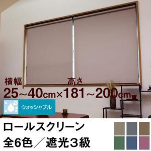 ロールスクリーン SHADE 遮光3級(ウォッシャブル/遮光率99.4%以上) 横幅25〜40cm × 高さ181〜200cm  オーダー メイド 立川機工製 洗濯 洗える|skipskip