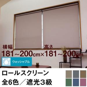 ロールスクリーン SHADE 遮光3級(ウォッシャブル/遮光率99.4%以上) 横幅181〜200cm × 高さ181〜200cm  オーダー メイド 立川機工製 洗濯 洗える|skipskip