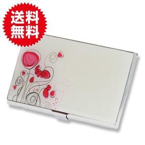 フラワー 薄型 カードケース 名刺入れ 花柄 ハンドミラー ステンレス ピンク×白 イラストチック レディース|sky-group