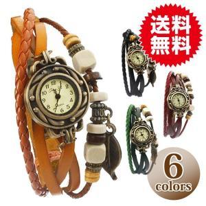 本革 ベルト クォーツ腕時計 レザーブレスレットタイプ ウォッチ リーフチャーム レディース|sky-group
