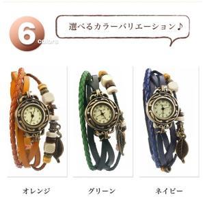 本革 ベルト クォーツ腕時計 レザーブレスレットタイプ ウォッチ リーフチャーム レディース|sky-group|03
