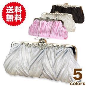 選べる5色 サテンプリーツ パーティーバッグ 3way レディース フォーマルブラック /結婚式 冠婚葬祭|sky-group