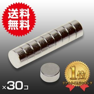 小さくても 超強力 磁石 30個セット 円柱形ネオジウム磁石 マグネット 6mm×3mm 鳩よけ