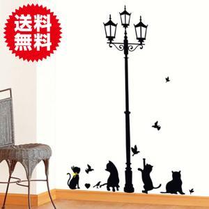 ウォールステッカー 街灯と猫 北欧 動物 壁紙 ウォールステッカー植物 アニマル インテリアシート 模様替え プチリフォーム|sky-group