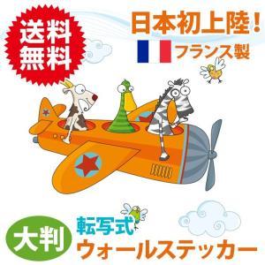 飛行機 転写タイプ ウォールステッカー フランス製 壁紙 はがせる カラフル かわいい キッズ 子供部屋 北欧 インテリア 飾り アニマル 動物 ポップ セリーゴロ|sky-group