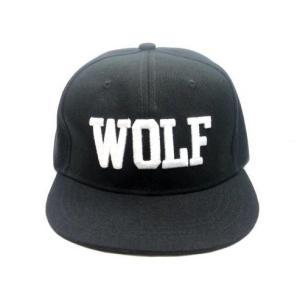 【メール便 送料無料】B-BOYヒップホップ 平らつば 帽子 シンプル WOLF ロゴ刺繍 BBキャップ|sky-sky
