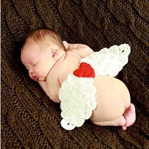 【メール便 送料無料】ホワイト羽翼ニット着ぐるみコスプレ新生児衣装 赤ちゃんベビー 用 出産祝い 百日記念 記念撮影|sky-sky