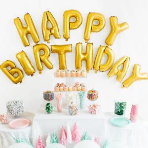 【メール便 送料無料】HAPPY BIRTHDAY  誕生日 文字 パーティー風船 バースデーパーティー バルーン イベント用 ゴールド