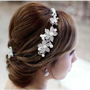 【メール便 送料無料】ウェディング 髪 飾り ライン ストーン (ホワイト 白)|sky-sky