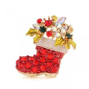 【メール便 送料無料】サンタさんの ブーツ型 キラキラ ブローチ クリスマスカラー|sky-sky