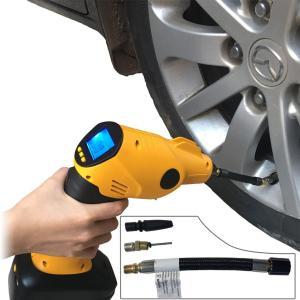 電動エアコンプレッサー 2000MA電池付き 高品質 プロエアーポンプ 温度センサー付き 自動車 自転車 バイク ボール空気入れ|sky-sky