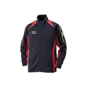 値下特価/MIZUNO(ミズノ)ウォームアップシャツ(ジュニア/子供用)ジャケット/スポーツウェアー/ ブラック×チャイニーズレッド/32JC641596|sky-spo