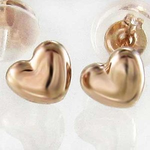 18金ピンクゴールド 両耳 ピアス ハート スタンダード 約3mm キャッチ付|skybell-shop