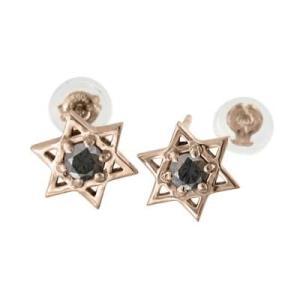 ペア ピアス k18ピンクゴールド ダビデの星 1粒 石 ブラックダイヤモンド 4月誕生石 キャッチ付き|skybell-shop