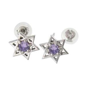 ペア ピアス アメシスト(紫水晶) ダビデの星 1粒 石 18金ホワイトゴールド 2月誕生石 キャッチ付き|skybell-shop