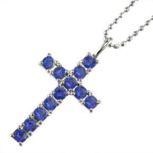 10金ホワイトゴールド ジュエリー ネックレス デザイン クロス 9月の誕生石 サファイア(青) skybell-shop