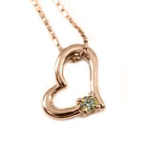 ペンダント ネックレス 一粒石 オープンハート ダイヤモンド 4月誕生石 k10ピンクゴールド skybell-shop
