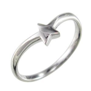 リング スター 星 シンプル k10ホワイトゴールド|skybell-shop