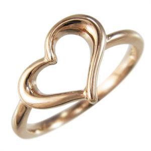 ピンクゴールドk10 オープン ハート 指輪 スタンダード|skybell-shop