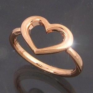 k10ピンクゴールド オープン ハート 指輪 スタンダード|skybell-shop
