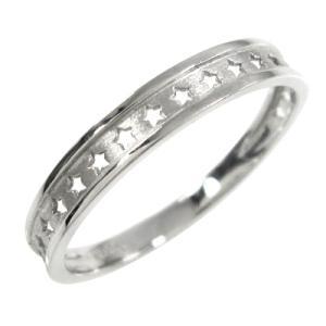 ホワイトゴールドk10 指輪 地金 星抜き デザイン|skybell-shop