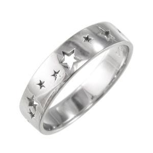 平打ちの 指輪 スター 型抜き スタンダード ホワイトゴールドk10|skybell-shop