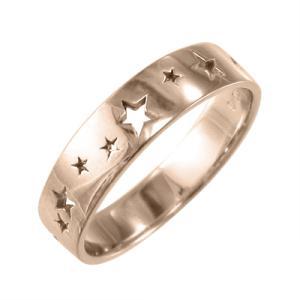 星抜き デザイン 地金 平らな指輪 k18ピンクゴールド|skybell-shop