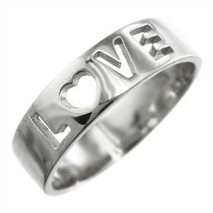 平打ちの 指輪 小指 指輪 スタンダード プラチナ900 ラブリング 平打ちのLOVE抜き|skybell-shop