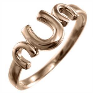 指輪 ラッキーアイテム馬蹄 地金 ピンクゴールドk10 三連|skybell-shop