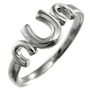 蹄鉄型 スタンダード 指輪 k10ホワイトゴールド 三連|skybell-shop