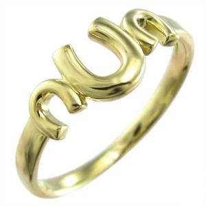 指輪 18金イエローゴールド 幸運 ホースシュー 地金 三連|skybell-shop