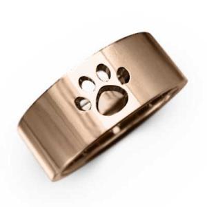 平打ち リング 18金ピンクゴールド 犬 シンプル 約7mm幅 大きめサイズ 厚さ約1.4mm 肉球抜き|skybell-shop