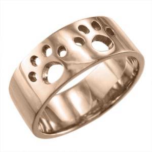平打ち リング 犬 シンプル 18金ピンクゴールド 約7mm幅 大きめサイズ 厚さ約1.4mm 肉球抜き|skybell-shop