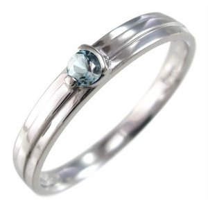 k10ホワイトゴールド 指輪 一粒 3月誕生石 アクアマリン skybell-shop