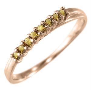 ハーフ エタニティ 指輪 シトリン(黄水晶) 11月の誕生石 k10ピンクゴールド skybell-shop