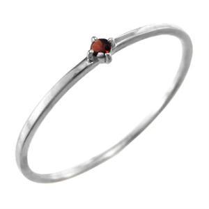 指輪 ガーネット ホワイトゴールドk18 1月の誕生石 幅約1mmリング 極細 skybell-shop