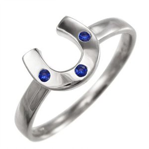 指輪 k10ホワイトゴールド 蹄鉄型 3ストーン サファイア 9月の誕生石|skybell-shop